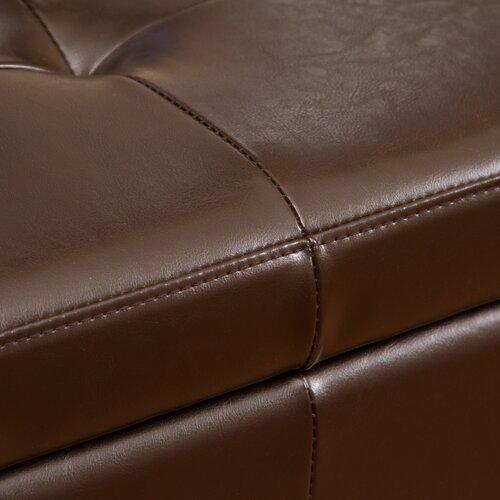 Home Loft Concept Juliet Bonded Leather Storage Ottoman with Tufted Top