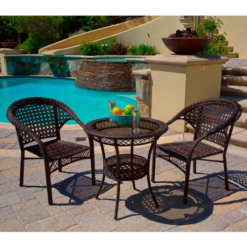 Home Loft Concept Cristiano 3-Piece Wicker Bistro Set