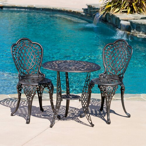Home Loft Concept Domingo 3 Piece Bronze Cast Aluminum Outdoor Bistro Set