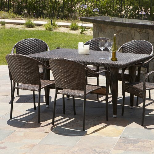 Home Loft Concept Dimke 7pc PE Wicker Outdoor Dining Set