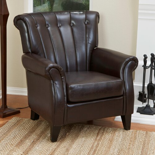 Home Loft Concept Tallow Channel Tufted Leather Club Chair