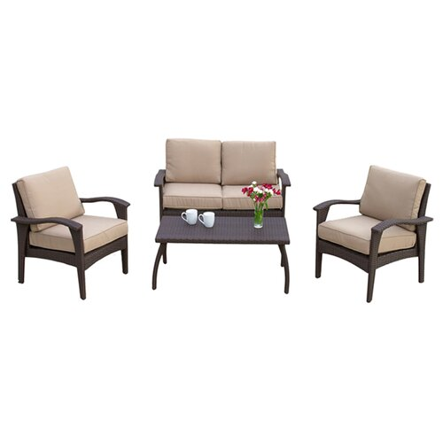 Home Loft Concept Tullip 4 Piece Deep Seating Set with Cushion
