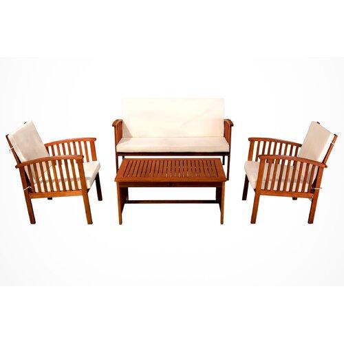 Home Loft Concept Virginia 4pc Outdoor Eucalyptus Sofa Set