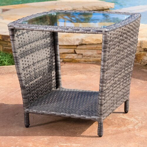 Home Loft Concept Worrilow Outdoor Wicker Side Table with Glass Top