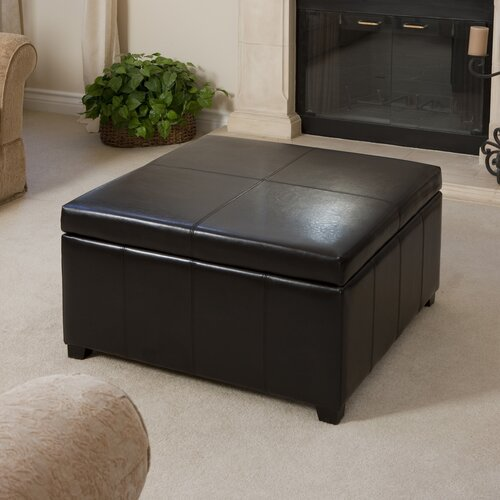 Goodwin Bonded Leather Square Storage Ottoman