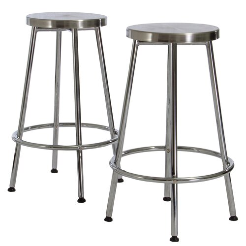 Home Loft Concept Wilkerson Chrome Barstools (Set of 2) (Set of 2)