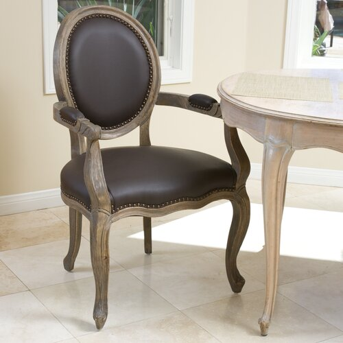 Home Loft Concept Reshad Leather Weathered Oak Arm Chair (Single)