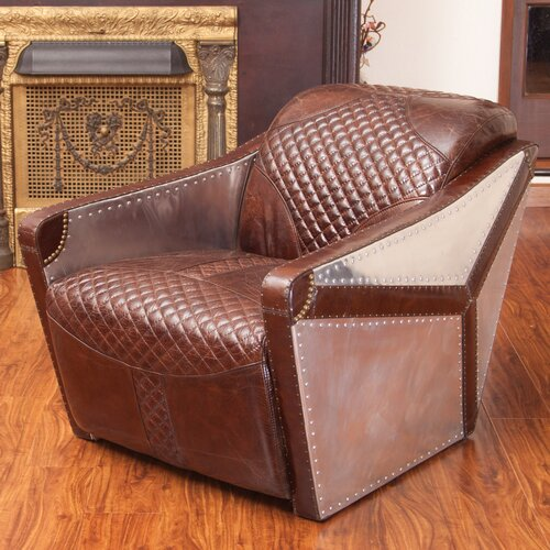 Home Loft Concept Moore Leather and Metal Club Chair