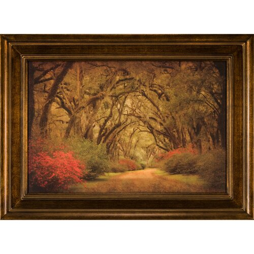 Ashton Wall Décor LLC Road Lined with Oak and Flowers Framed Painting Print