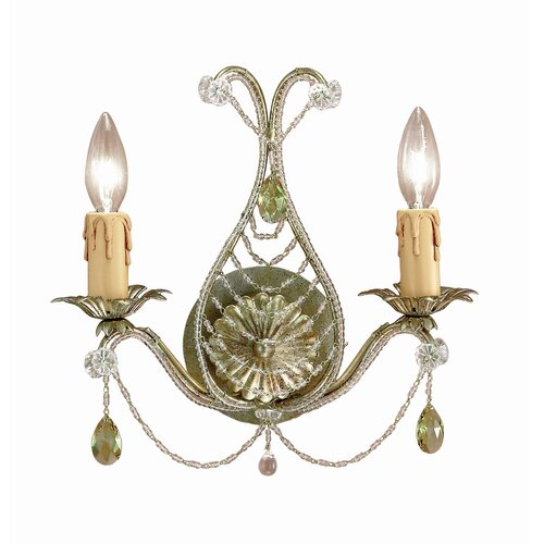 Crystorama Abigail 2 Light Crystal Candle Wall Sconce