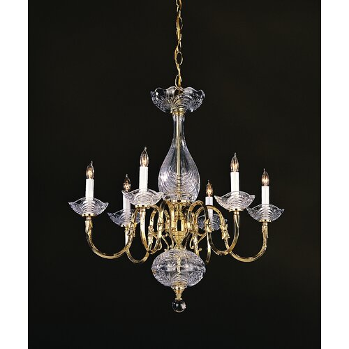 Crystorama Historical Brass 6 Light Chandelier