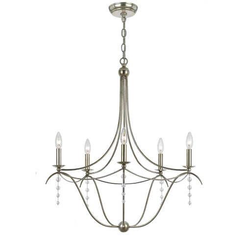 Metro Five Light Chandelier in Antique Silver