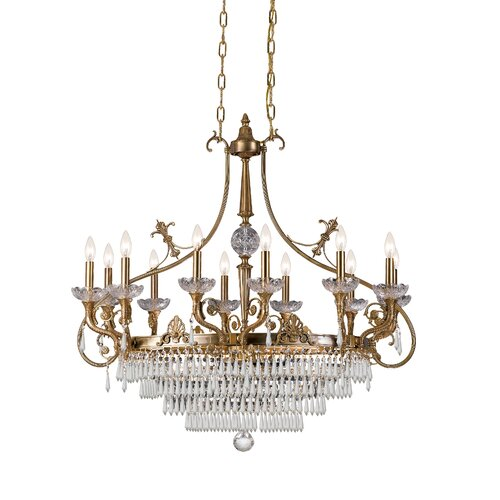 Traditional Classic 16 Crystal Chandelier in Aged Brass