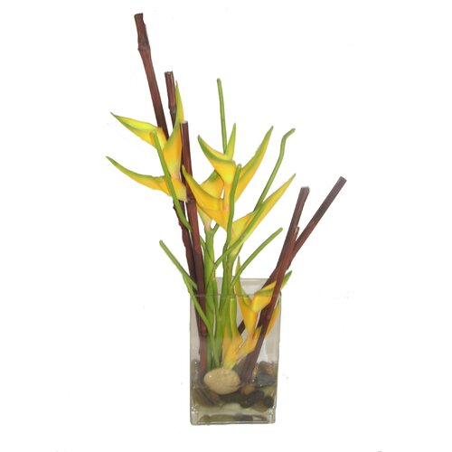 Faux Heliconia in Decorative Vase