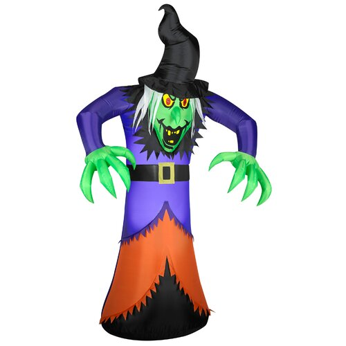 Gemmy industries airblown animated life size witch for Animated halloween decoration