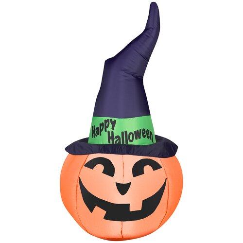 Outdoor Pumpkin with Witch Hat Halloween Decoration