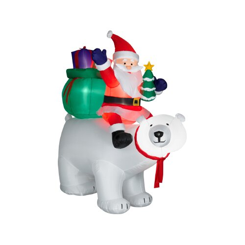 Gemmy Industries Airblown Santa Sitting on Polar Bear Scene Christmas Decoration