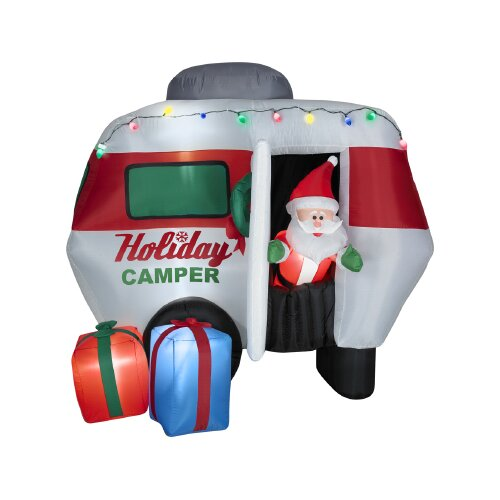 Gemmy Industries Airblown Animated Santa in Holiday Camper Christmas Decoration