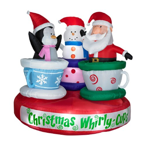 Airblown Animated Tea Cup Ride Christmas Decoration