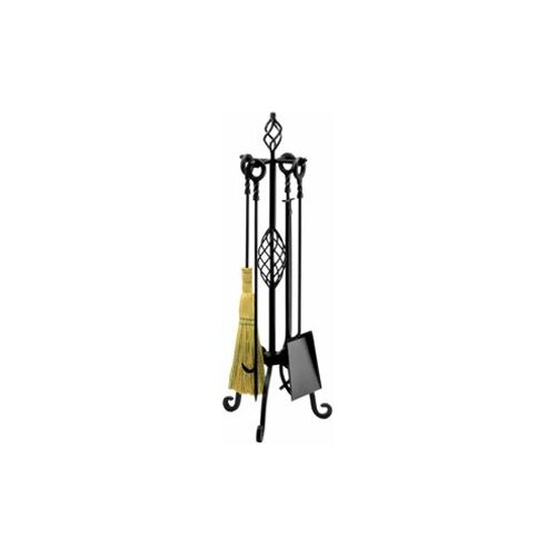 4 Piece Wrought Iron Fireplace Tool Set