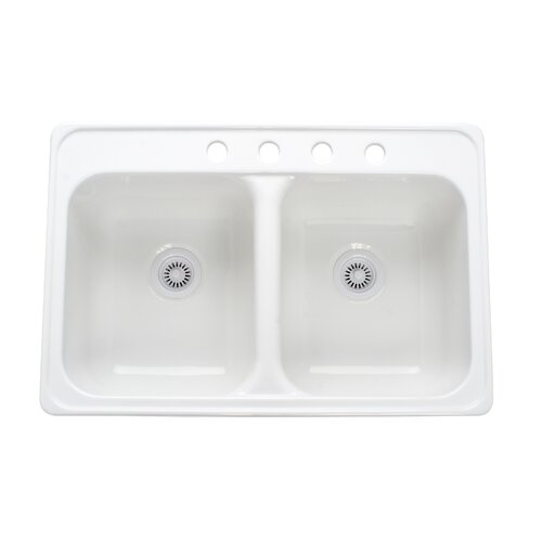 "Lyons Industries Deluxe 33"" x 22"" Designer Double Bowl Self-Rimming Kitchen Sink"
