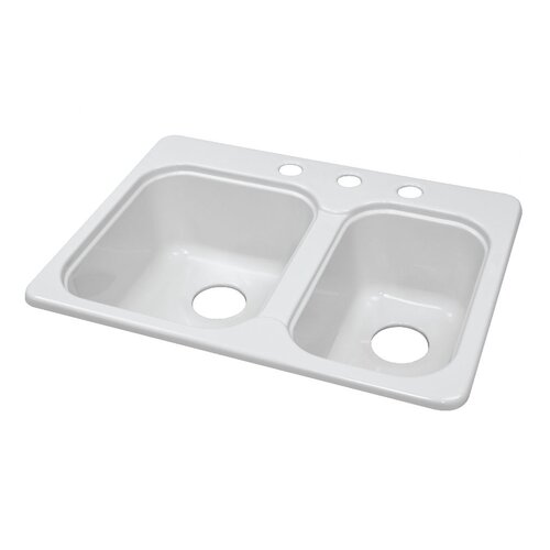 "Lyons Industries Deluxe 25"" x 19.5"" Designer Double Bowl Self-Rimming Kitchen Sink"