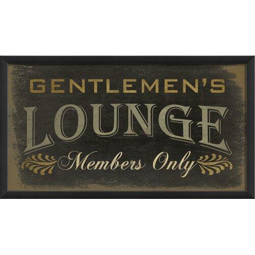 Blueprint Artwork Gentlemens Lounge Members Framed Textual Art