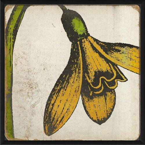 Blueprint Artwork Vintage Flower Colors Framed Graphic Art