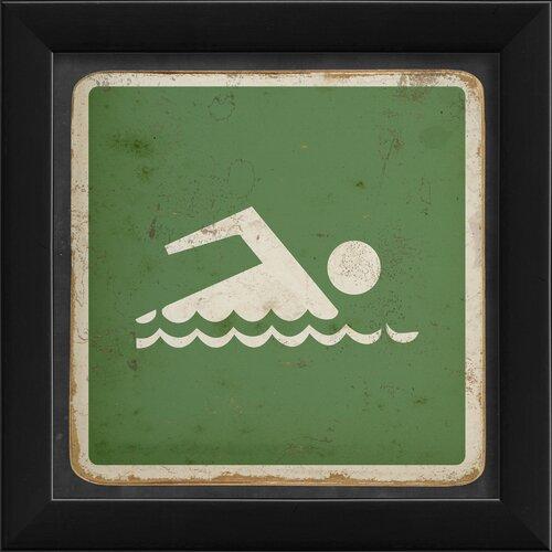 Blueprint Artwork Sign Swimming Framed Graphic Art