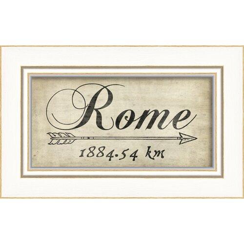 Blueprint Artwork Rome 1884Km Framed Textual Art