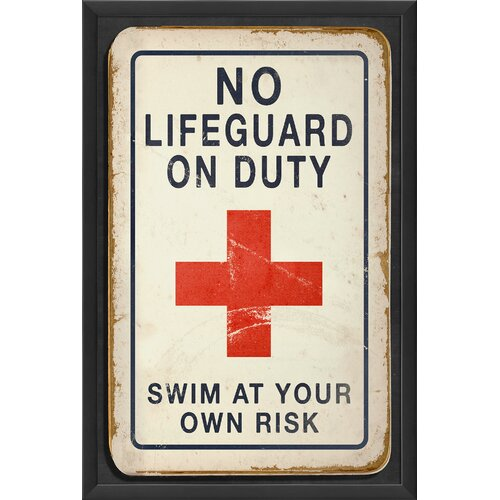Blueprint Artwork No Lifeguard on Duty Framed Textual Art