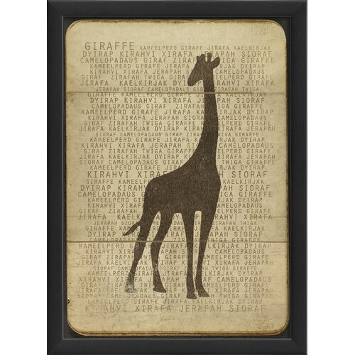 Giraffe Silhouette Framed Graphic Art