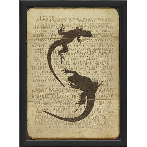 Blueprint Artwork Lizard Silhouette Framed Graphic Art