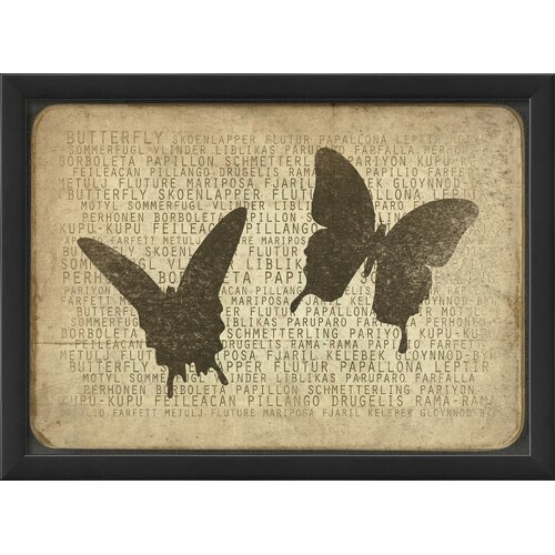 Blueprint Artwork Butterfly Silhouette Framed Graphic Art