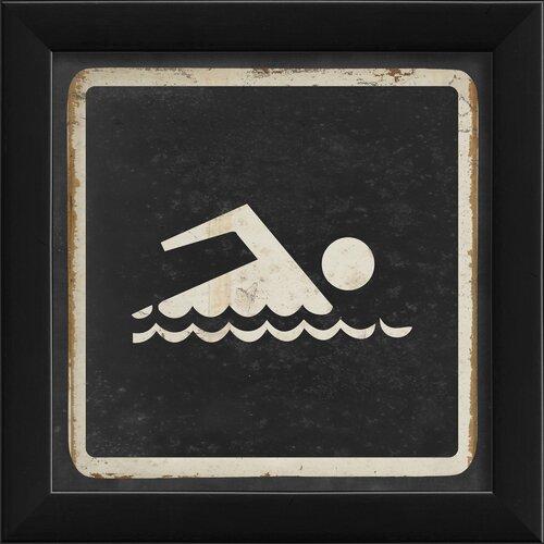 Blueprint Artwork Sign Swimming Framed Graphic Art in Black and White