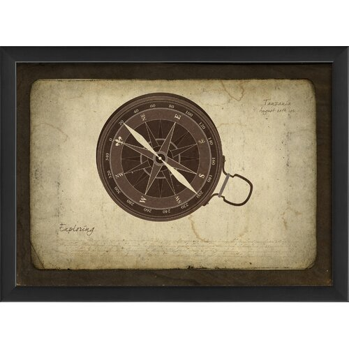 Blueprint Artwork Compass Framed Graphic Art
