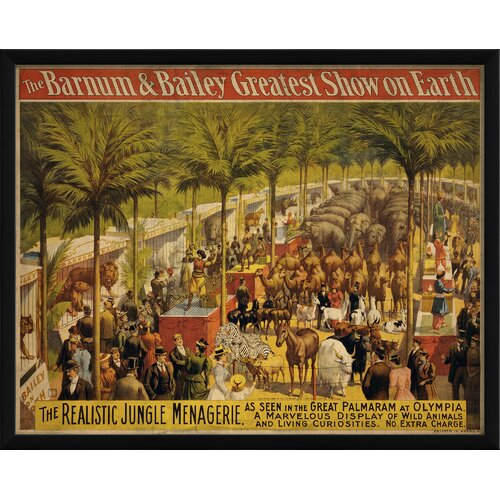 The Realistic Jungle Menagerire Framed Vintage Advertisement