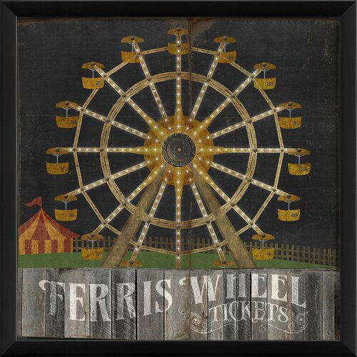 Blueprint Artwork Ferris Wheel Framed Graphic Art