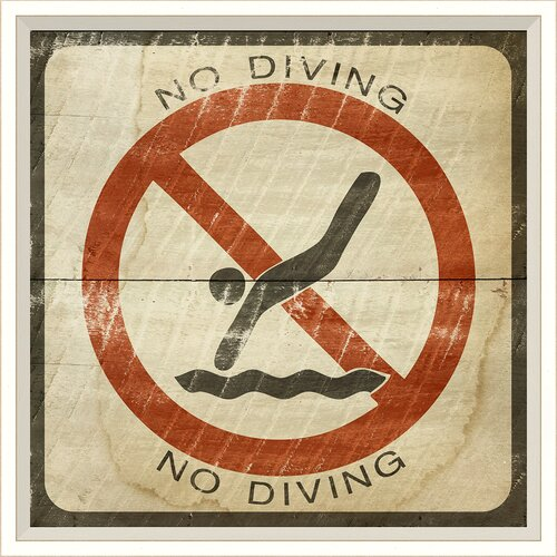 Blueprint Artwork Sign No Diving Framed Graphic Art