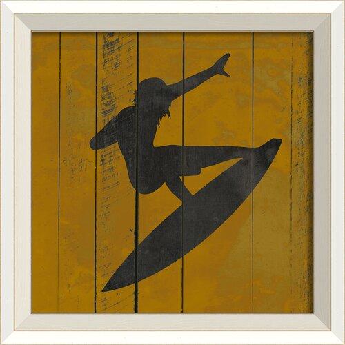 Blueprint Artwork Surfer I Framed Graphic Art in Yellow and Black