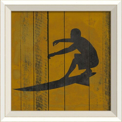 Surfer II Framed Graphic Art in Yellow and Black