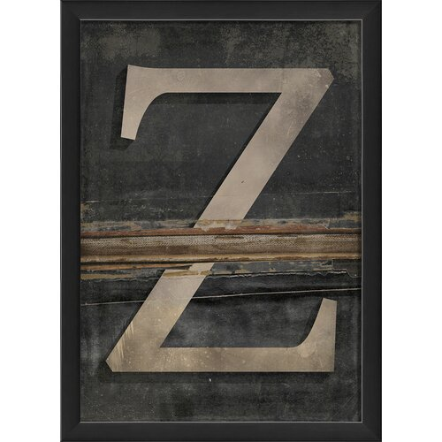 Blueprint Artwork Letter Z Framed Textual Art in Black and Gray