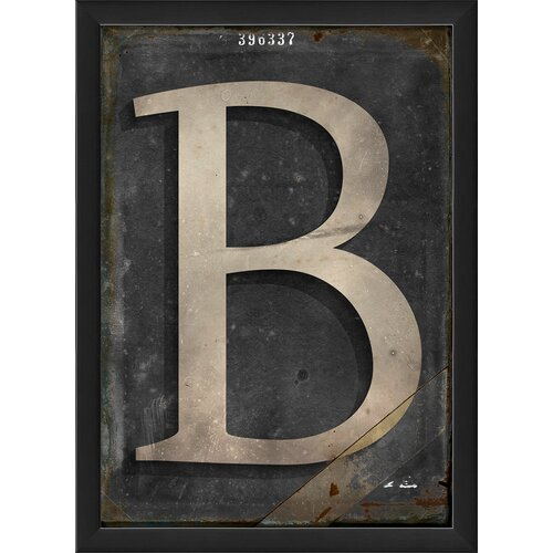 Blueprint Artwork Letter B Framed Textual Art in Black and Gray