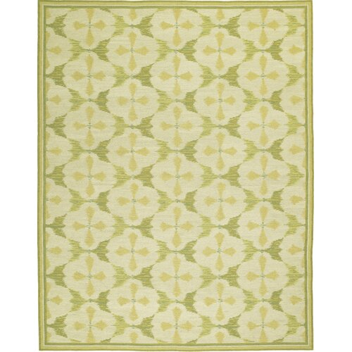 Thaleia Needlepoint Timur Green Flowers Rug