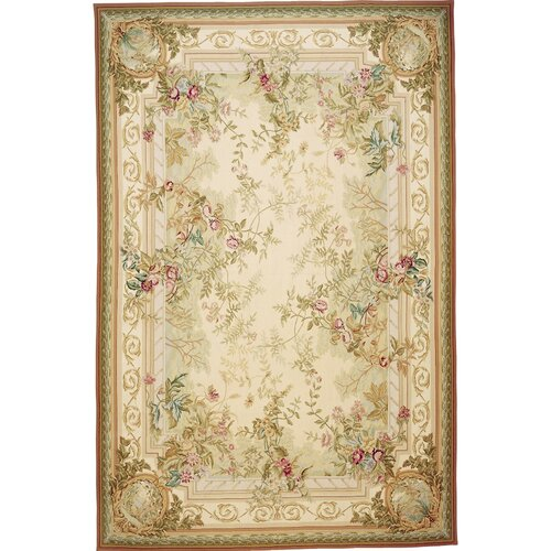 Classic Aubusson Rosemont Gray / Ivory Flowers Rug