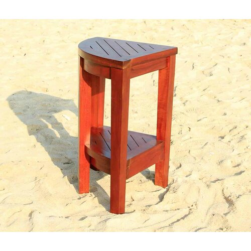 Outdoor Elevated Teak Corner Shelf or Small Table