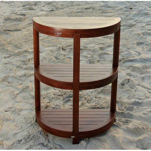 Decoteak 3 Tier Classic Spa Half Moon Teak Outdoor Shelf