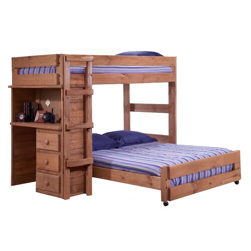 Twin over full l shaped bunk bed with desk end wayfair Kids loft bed with desk