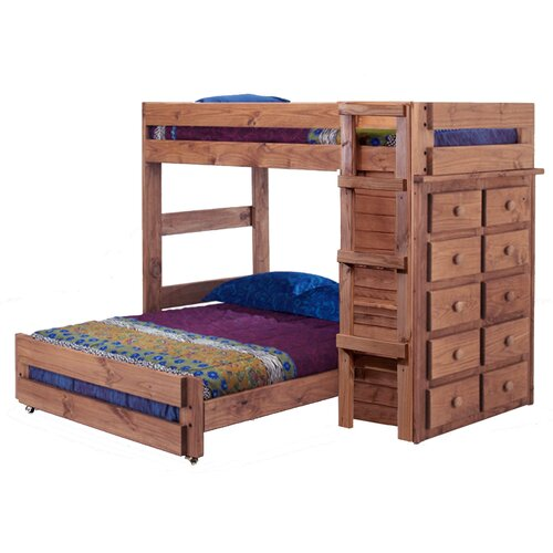 Twin Over Full L Shaped Bunk Bed With 10 Drawer Chest