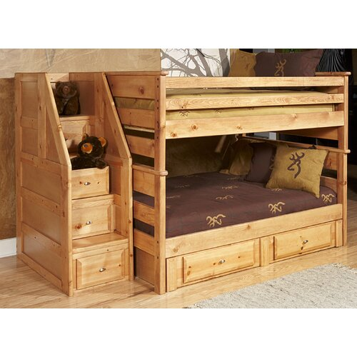 Chelsea Home Full Over Full Standard Bunk Bed with Stairway Chest and Storage